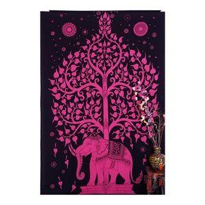Pink Elephant Tree of Life Wall Boho Tapestry NEW